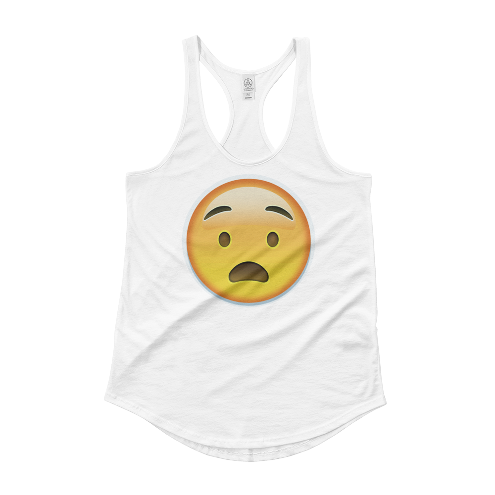 Women's Emoji Tank Top - Anguished Face-Just Emoji