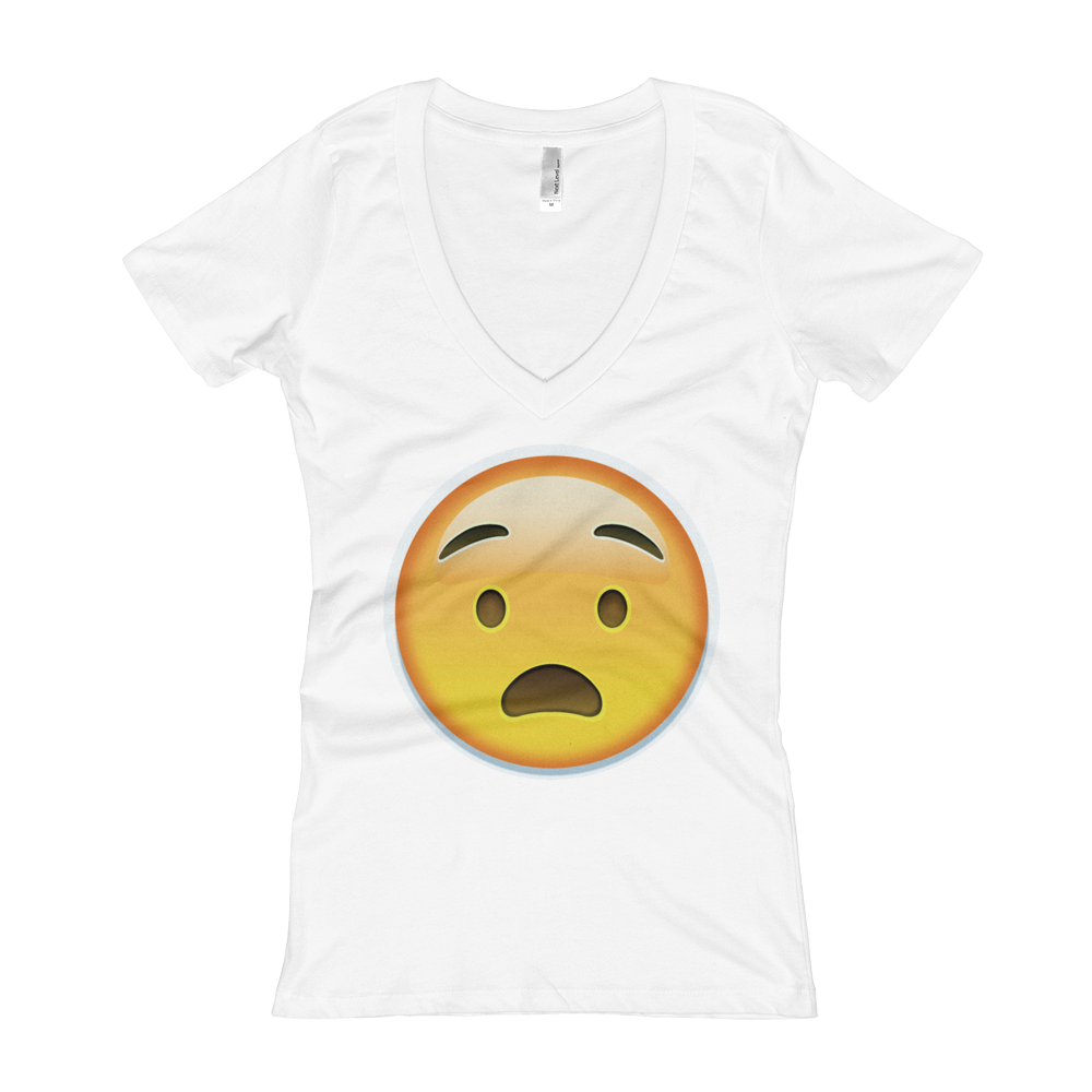 Women's Emoji V-Neck - Anguished Face-Just Emoji