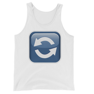 Men's Emoji Tank Top - Anticlockwise Downwards And Upwards Open Circle Arrows-Just Emoji