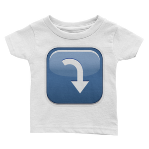 Emoji Baby T-Shirt - Arrow Pointing Rightwards Then Curving Downwards-Just Emoji