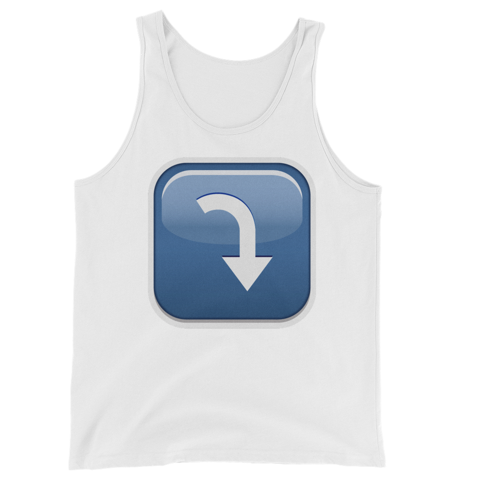 Men's Emoji Tank Top - Arrow Pointing Rightwards Then Curving Downwards-Just Emoji