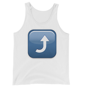 Men's Emoji Tank Top - Arrow Pointing Rightwards Then Curving Upwards-Just Emoji