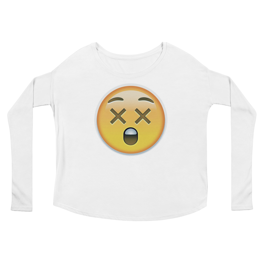 Women's Emoji Long Sleeve T-Shirt - Astonished Face-Just Emoji