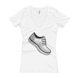 Women's Emoji V-Neck - Athletic Shoe-Just Emoji