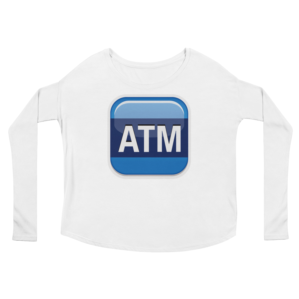 Women's Emoji Long Sleeve T-Shirt - Automated Teller Machine-Just Emoji