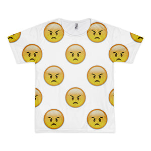 All Over Emoji T-Shirt - Angry Face-Just Emoji