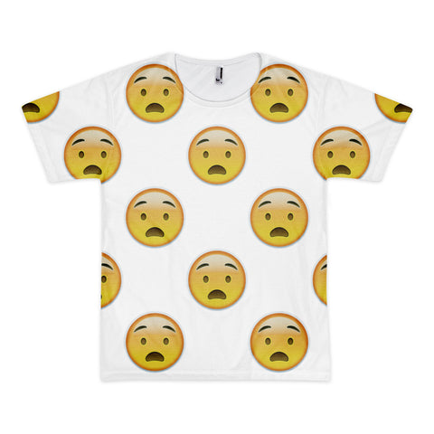 All Over Emoji T-Shirt - Anguished Face-Just Emoji