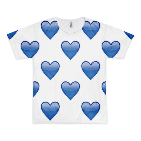 All Over Emoji T-Shirt - Blue Heart-Just Emoji