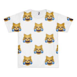 All Over Emoji T-Shirt - Cat Face With Tears Of Joy-Just Emoji