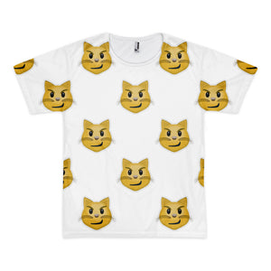 All Over Emoji T-Shirt - Cat Face With Wry Smile-Just Emoji