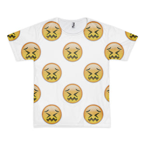 All Over Emoji T-Shirt - Confounded Face-Just Emoji