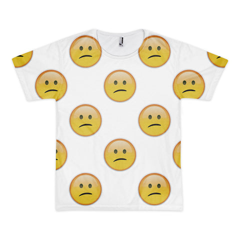 All Over Emoji T-Shirt - Confused Face-Just Emoji