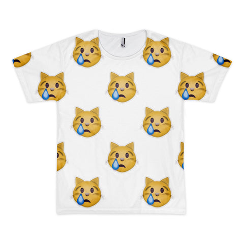All Over Emoji T-Shirt - Crying Cat Face-Just Emoji