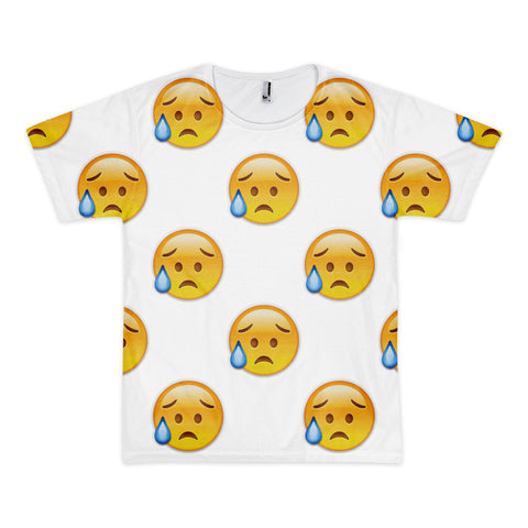 All Over Emoji T-Shirt - Disappointed But Relieved Face-Just Emoji