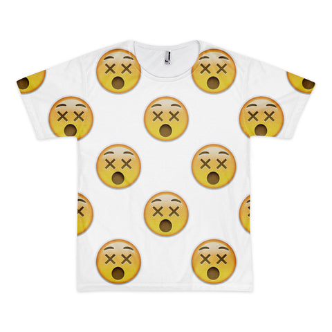 All Over Emoji T-Shirt - Dizzy Face-Just Emoji