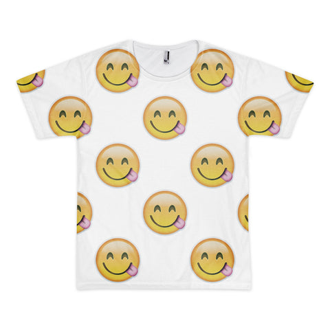 All Over Emoji T-Shirt - Face Savouring Delicious Food-Just Emoji