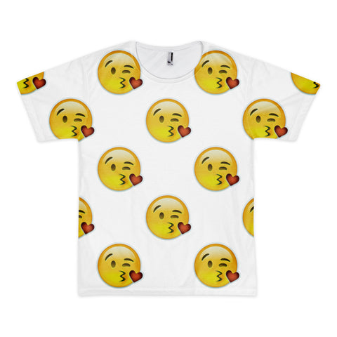 All Over Emoji T-Shirt - Face Throwing A Kiss-Just Emoji