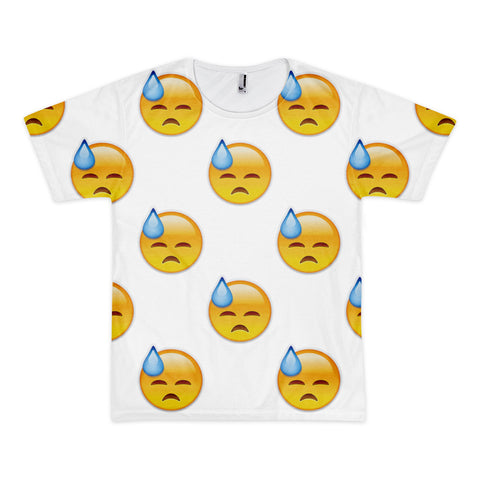 All Over Emoji T-Shirt - Face With Cold Sweat-Just Emoji