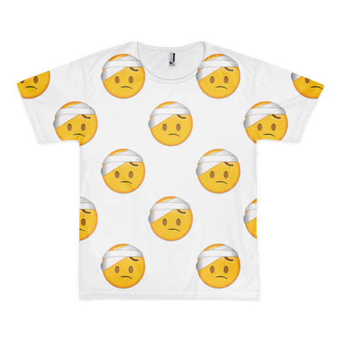 All Over Emoji T-Shirt - Face With Head Bandage-Just Emoji