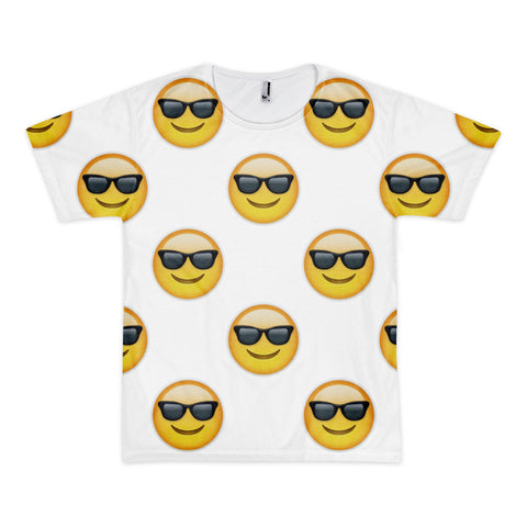 All Over Emoji T-Shirt - Smiling Face With Sunglasses-Just Emoji