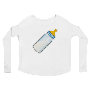 Women's Emoji Long Sleeve T-Shirt - Baby Bottle-Just Emoji