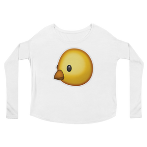 Women's Emoji Long Sleeve T-Shirt - Baby Chick-Just Emoji