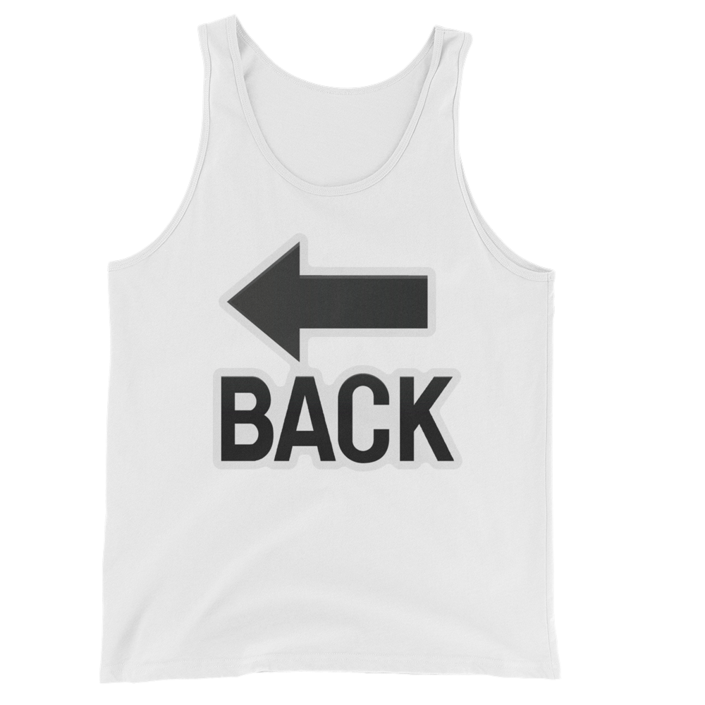 Men's Emoji Tank Top - Back With Leftwards Arrow Above-Just Emoji