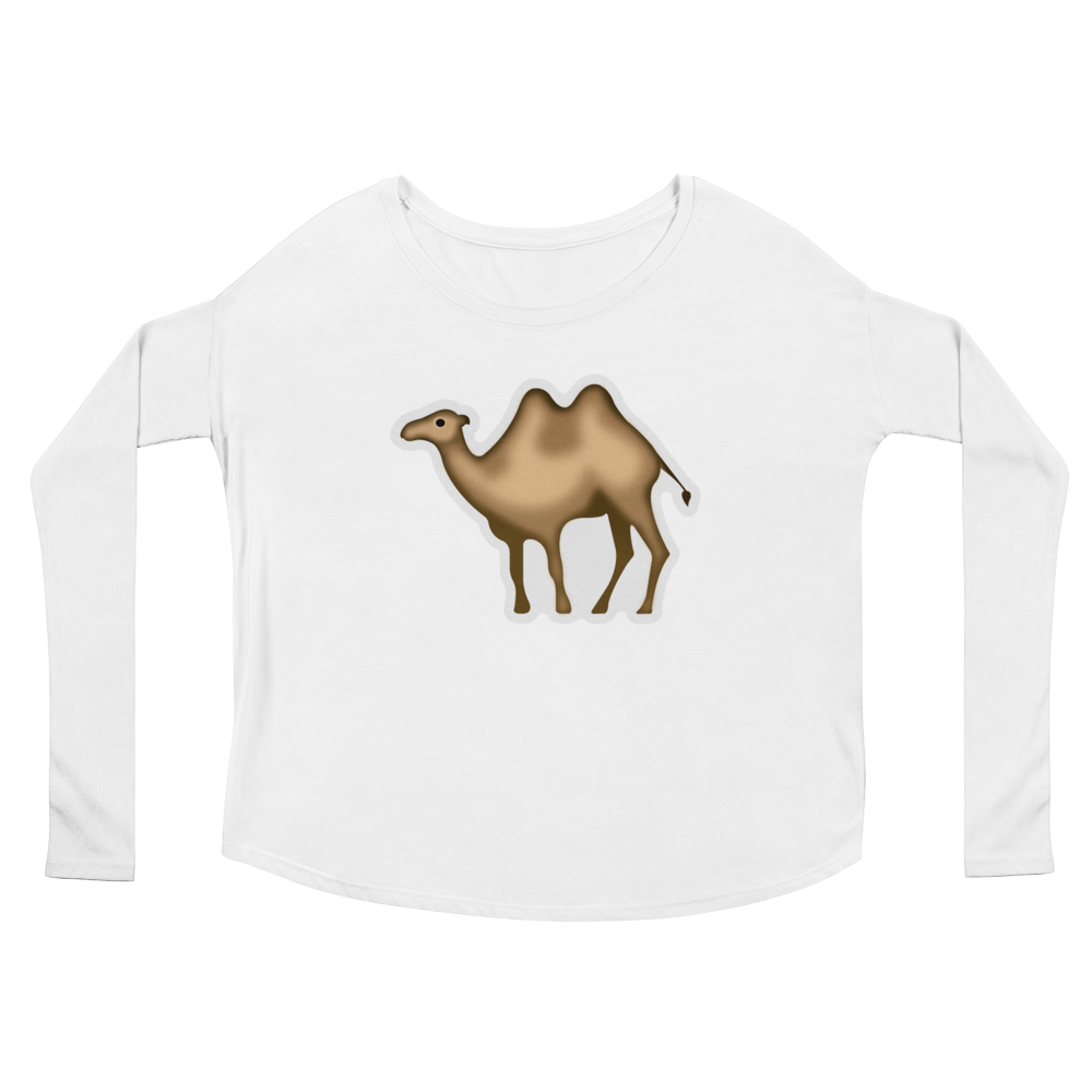 Women's Emoji Long Sleeve T-Shirt - Bactrian Camel-Just Emoji