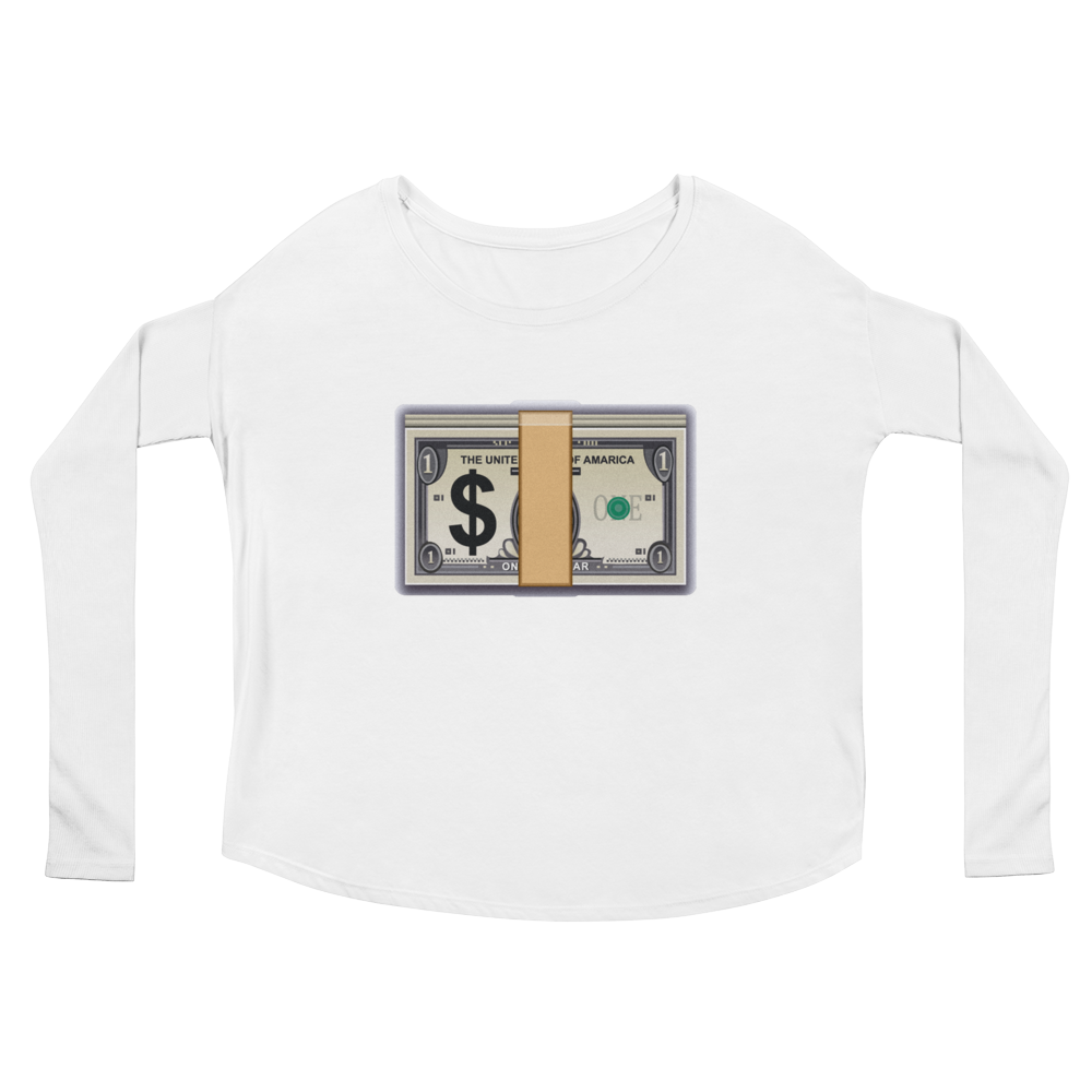 Women's Emoji Long Sleeve T-Shirt - Banknote With Dollar Sign-Just Emoji