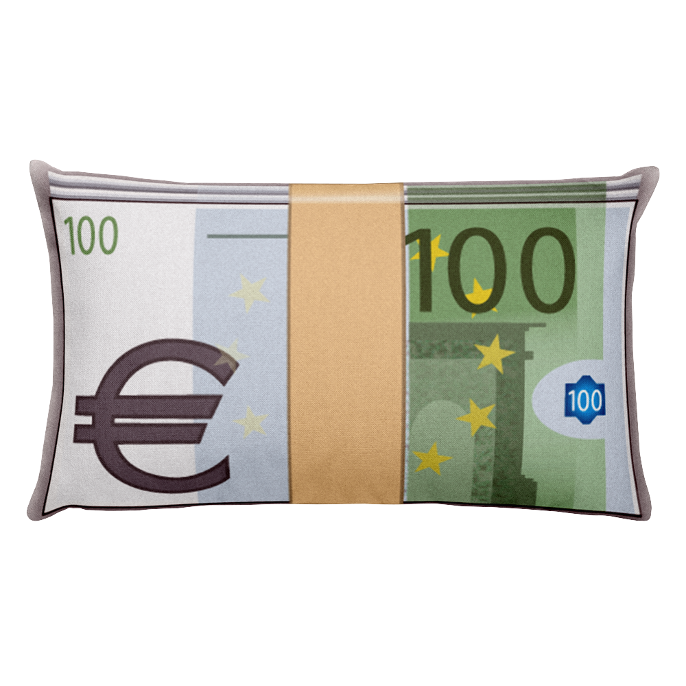Emoji Bed Pillow - Banknote With Euro Sign-Just Emoji