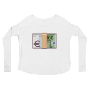 Women's Emoji Long Sleeve T-Shirt - Banknote With Euro Sign-Just Emoji