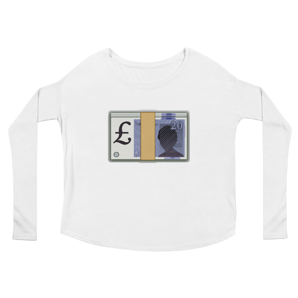 Women's Emoji Long Sleeve T-Shirt - Banknote With Pound Sign-Just Emoji