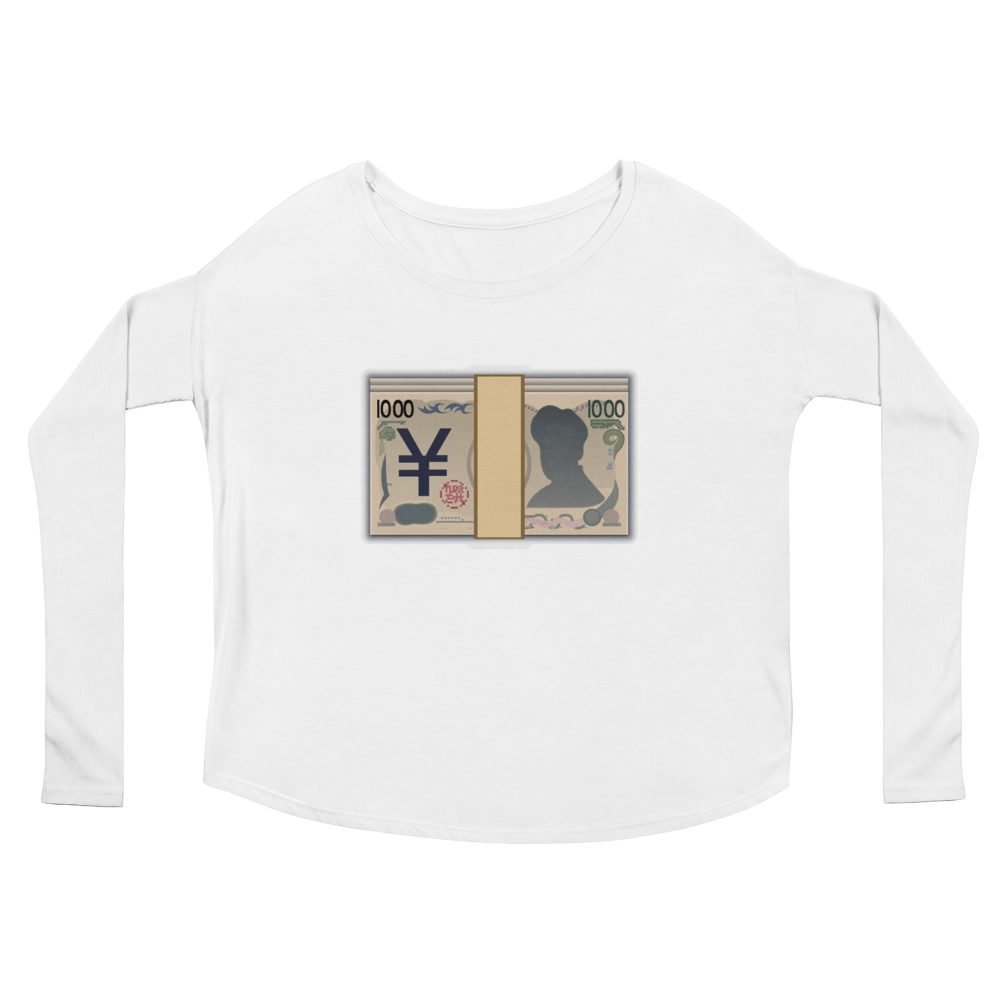 Women's Emoji Long Sleeve T-Shirt - Banknote With Yen Sign-Just Emoji