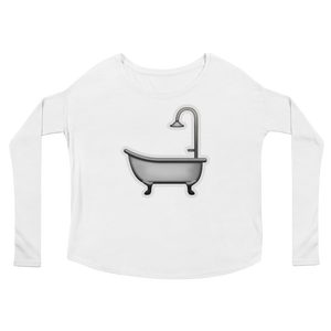 Women's Emoji Long Sleeve T-Shirt - Bathtub-Just Emoji