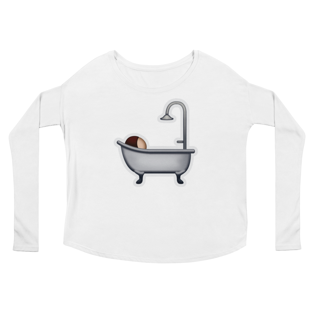 Women's Emoji Long Sleeve T-Shirt - Bath-Just Emoji