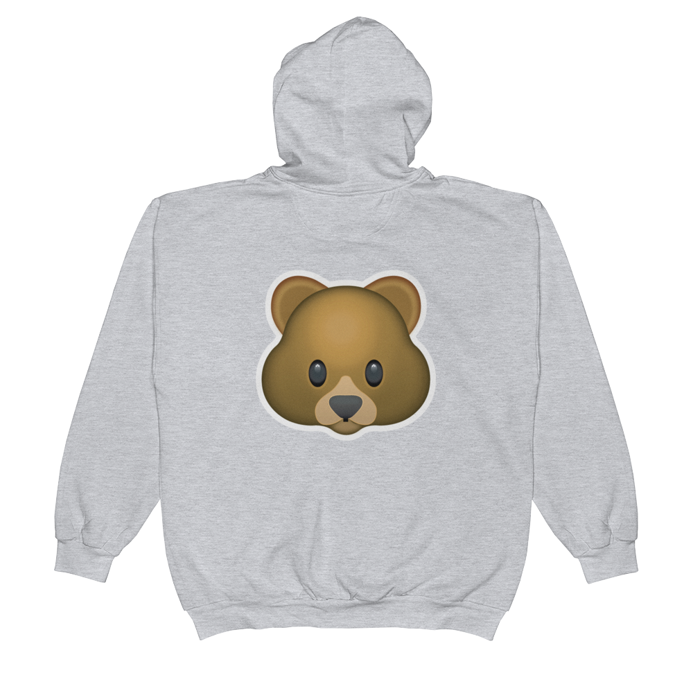 Emoji Zip Hoodie - Bear Face-Just Emoji