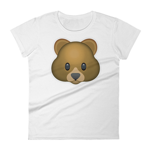 Women's Emoji T-Shirt - Bear Face-Just Emoji