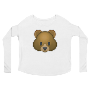 Women's Emoji Long Sleeve T-Shirt - Bear Face-Just Emoji