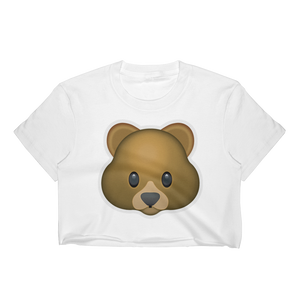 Emoji Crop Top T-Shirt - Bear Face-Just Emoji
