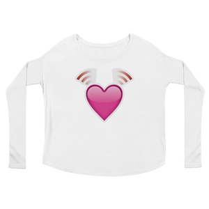 Women's Emoji Long Sleeve T-Shirt - Beating Heart-Just Emoji