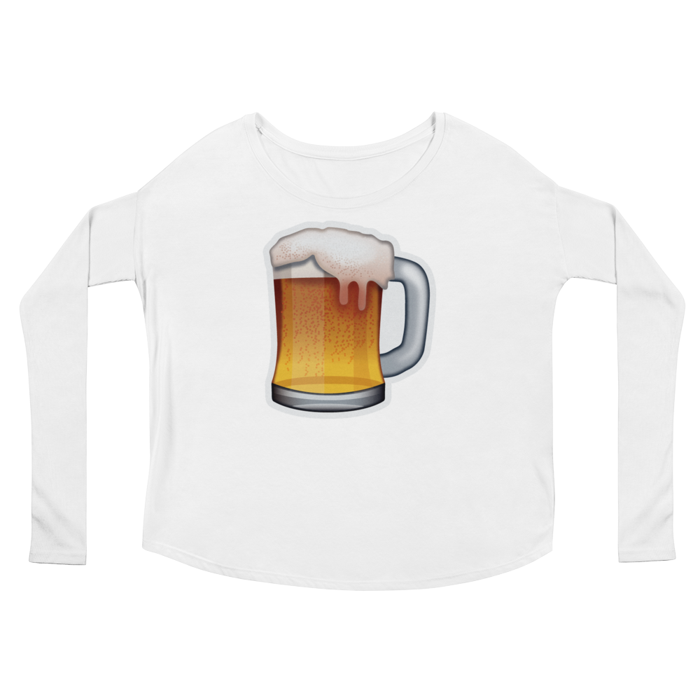 Women's Emoji Long Sleeve T-Shirt - Beer Mug-Just Emoji