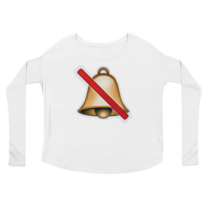 Women's Emoji Long Sleeve T-Shirt - Bell With Cancellation Stroke-Just Emoji