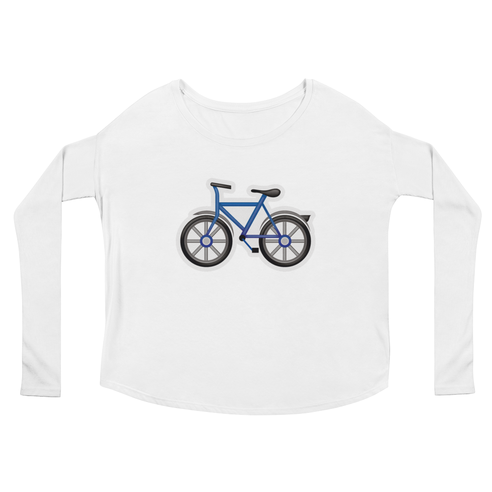 Women's Emoji Long Sleeve T-Shirt - Bicycle-Just Emoji