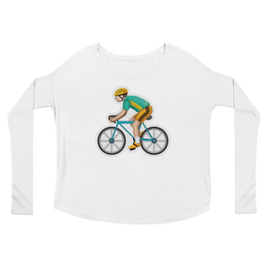 Women's Emoji Long Sleeve T-Shirt - Bicyclist-Just Emoji