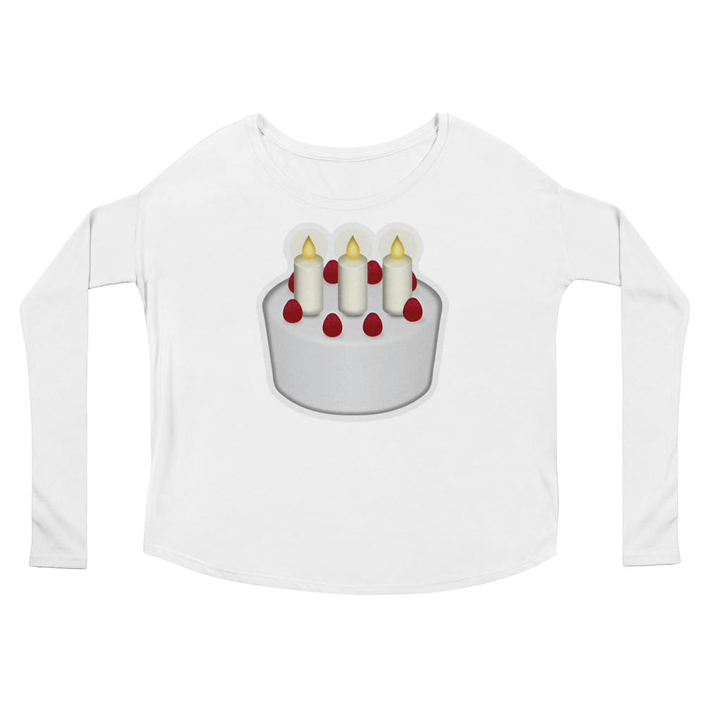 Women's Emoji Long Sleeve T-Shirt - Birthday Cake-Just Emoji