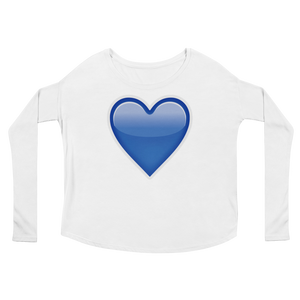 Women's Emoji Long Sleeve T-Shirt - Blue Heart-Just Emoji
