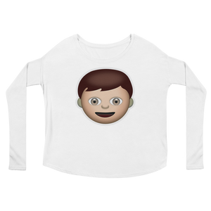 Women's Emoji Long Sleeve T-Shirt - Boy-Just Emoji