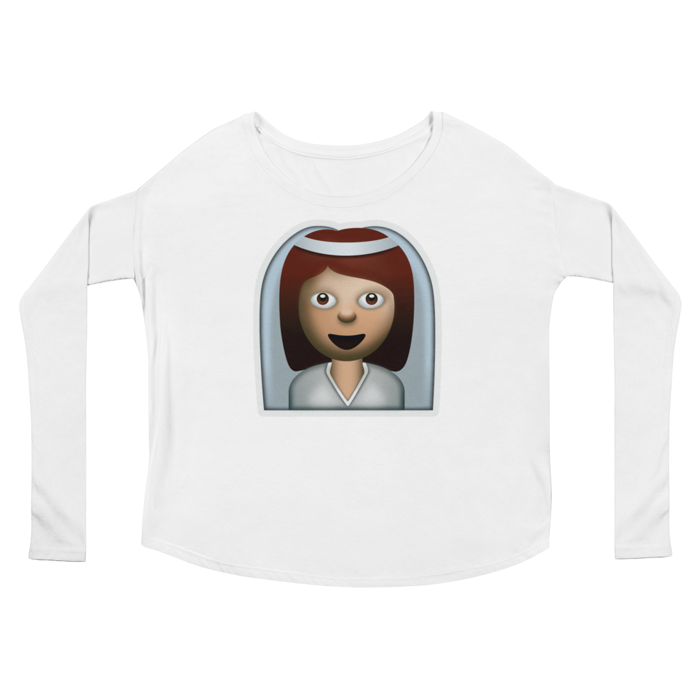 Women's Emoji Long Sleeve T-Shirt - Bride With Veil-Just Emoji