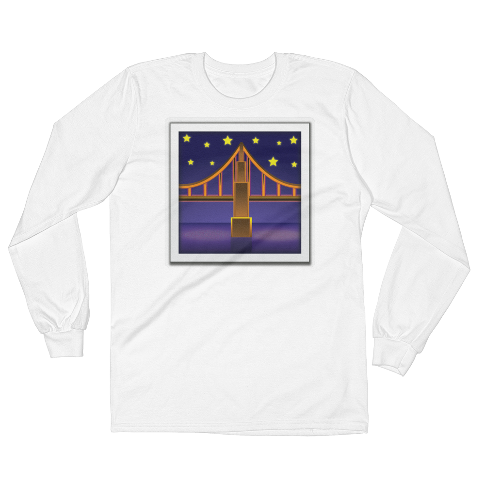 Men's Emoji Long Sleeve T-Shirt - Bridge At Night-Just Emoji