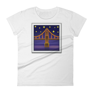 Women's Emoji T-Shirt - Bridge At Night-Just Emoji
